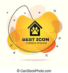 Black Dog house and paw print pet icon isolated on white background. Dog kennel. Fluid color banner. Vector Illustration
