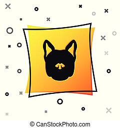 Black Dog icon isolated on white background. Yellow square button. Vector Illustration