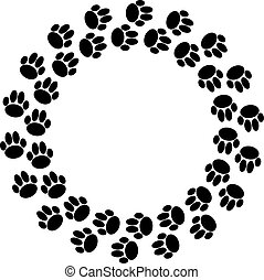 Black dog paws in ring on white background.