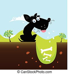 Black dog with bones. VECTOR - Cute black dog in nature with...