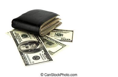 black , dollar, achtergrond, vrijstaand, oud, portemonaie, witte