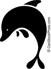 black dolphin symbol - vector illus