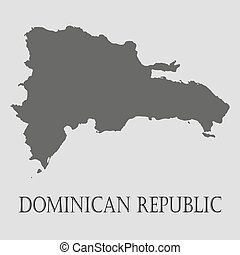 Black Dominican republic map on light grey background. Black Dominican republic map - vector illustration.