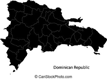 Black Dominican Republic map separated on the provinces
