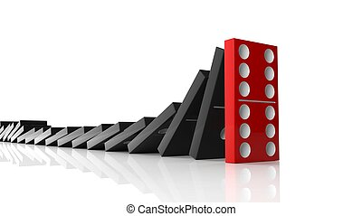 Black domino tiles falling in a row on to red last one...