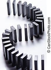 Black dominoes in a row