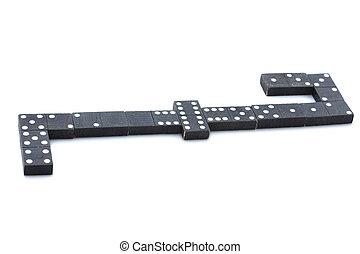 Black dominoes isolated on white background