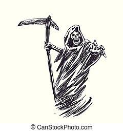 black , dood, met, zeis, voor, halloween