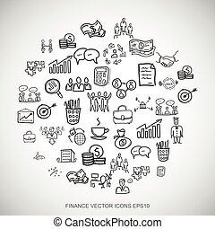 Black doodles Hand Drawn Business Icons set on White. EPS10 vector illustration.