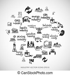 Black doodles Hand Drawn Industry Icons set on White. EPS10 vector illustration.