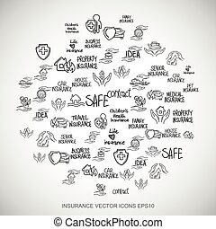 Black doodles Hand Drawn Insurance Icons set on White. EPS10 vector illustration.