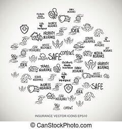 Black doodles Hand Drawn Insurance Icons set on White. EPS10 vector illustration.