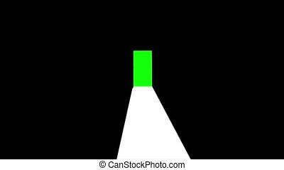 Black door and with green chroma key computer animation
