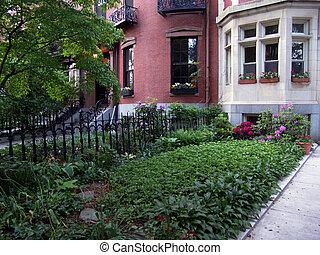 beacon hill garden in boston massachusetts on a spring day