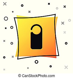 Black Door hanger tags for room in hotel or resort icon isolated on white background. Please do not disturb sign. Yellow square button. Vector Illustration