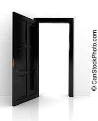 Black door over white background