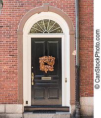 Black Door with Fall Wreath