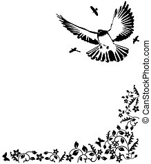 black and white vector illustration with a dove