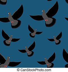 Black Dove seamless pattern. Gray pigeons fly at night. Background of flying birds. Winged night pigeons fly in dark.