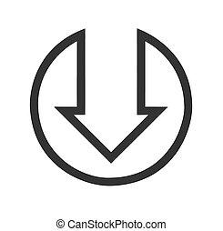 Black down arrow flat icon on white Background