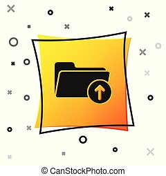 Black Download arrow with folder icon isolated on white background. Yellow square button. Vector Illustration