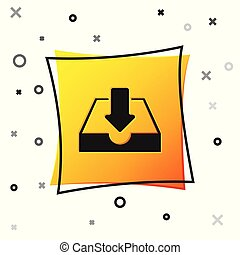 Black Download inbox icon isolated on white background. Yellow square button. Vector Illustration