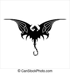 Black Dragon, Dragon, spreading its wing. Elegant Black Dragon with the bending tail,