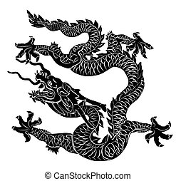 Black dragon isolated. Vector illustration