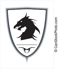 Black dragon over the white shield