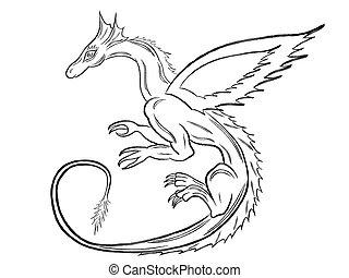 Black dragon over white