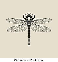 black dragonfly insect - vector illustration. eps 8