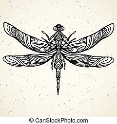 Black dragonfly on white background isolated. Hand-drawn vector illustration.