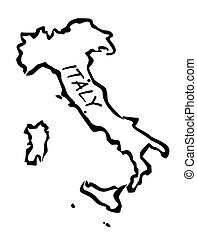 Black drawing map of Italy