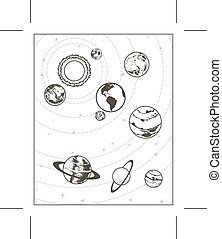 Black drawing solar system