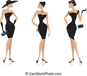 Illustration o three elegant ladies in black dresses