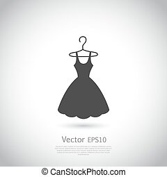 Black dress on hanger. Dress icon.