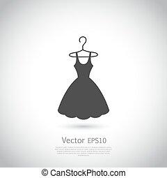 Black dress on hanger. Dress icon.