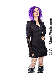 black dress - Portrait of a punk girl. Isolated over white...