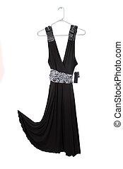 black dress sale - Sleeveless black dress on hanger with tag...