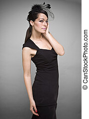 black dress - Lovely woman retrowidow  portrait fashion