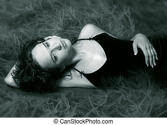 Black dress - The image of the beautiful girl in a black...