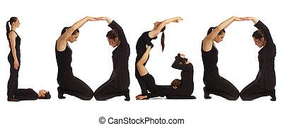 Black dressed people forming word LOGO