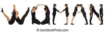 Black dressed people forming word WOMAN