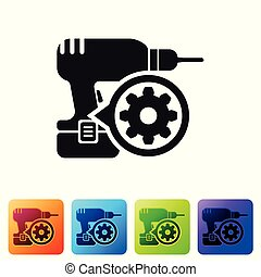 Black Drill machine and gear icon isolated on white background. Adjusting app, service concept, setting options, maintenance, repair, fixing. Set icon in color square buttons. Vector Illustration