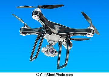 Black Drone in the blue sky, 3D rendering
