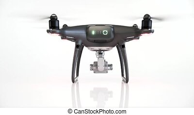 Black drone with camera isolated on white background. -...