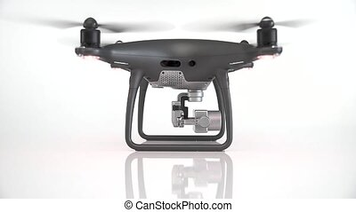 Black drone with camera isolated on white background. - ...