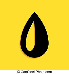 Black Drop icon isolated on yellow background. Long shadow style. Vector