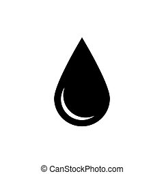 Black drop icon. Oil or water symbol. Simple flat vector illustration with shadow isolated on white background