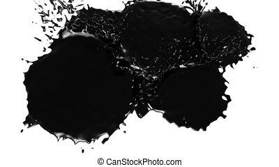 black drops falls and splatters on white. juice